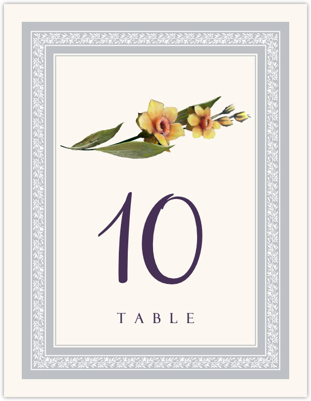 Traditional Flowers  Table Numbers