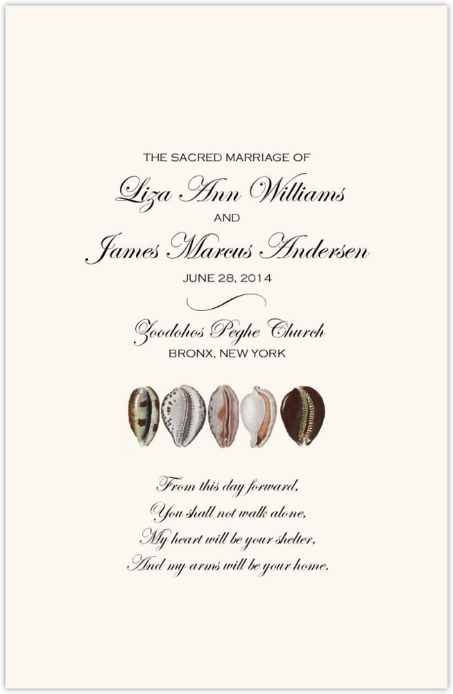 African Cowry Shell  Wedding Programs