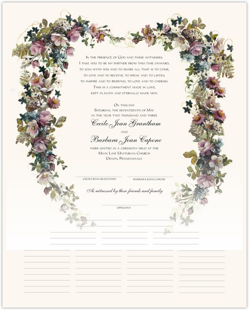 Antique Pinks Heart  Wedding Certificates