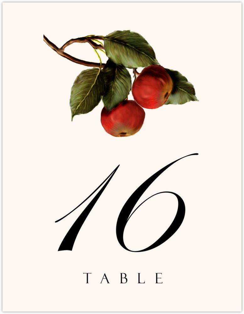 Apples  Table Numbers