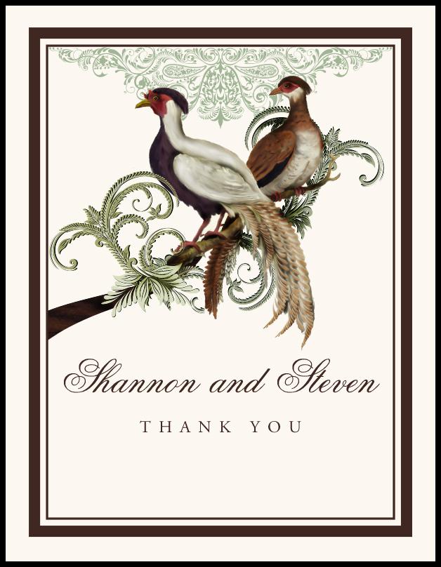 Asian Peace Birds  Thank You Notes