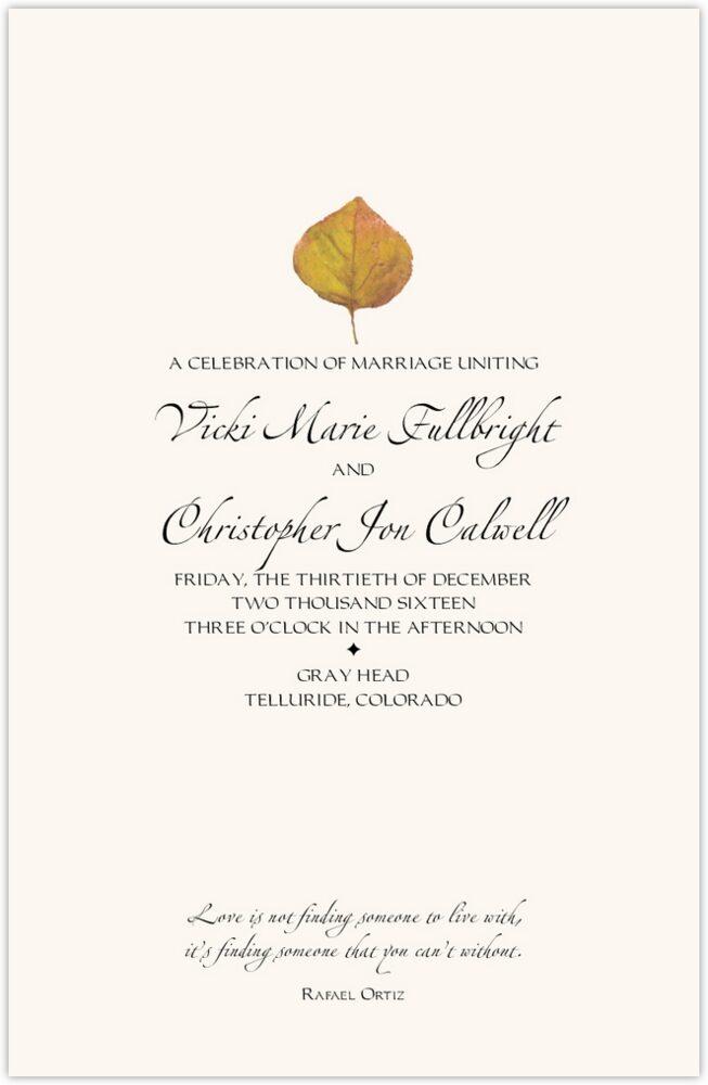 Yellow Aspen Leaves  Wedding Programs