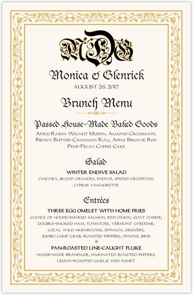 Blackletter Gothic  Wedding Menus