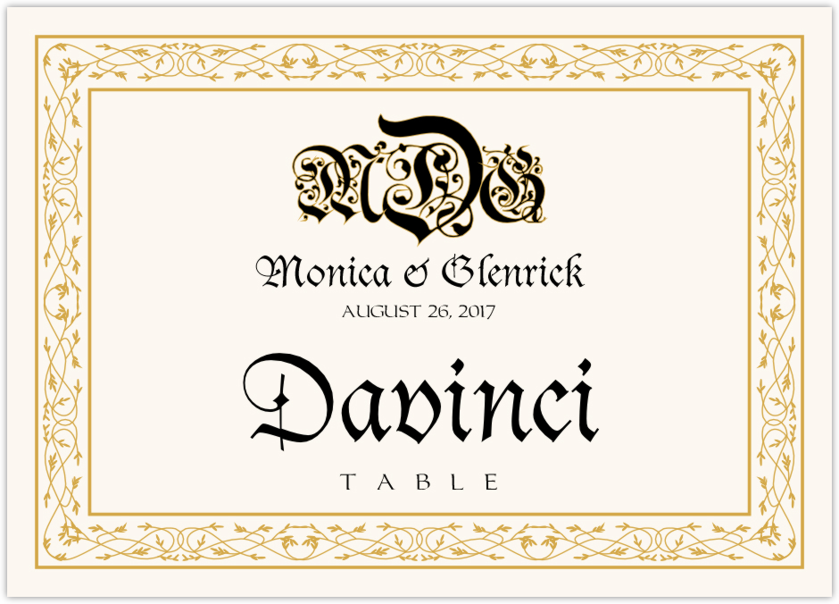 Blackletter Gothic  Table Names