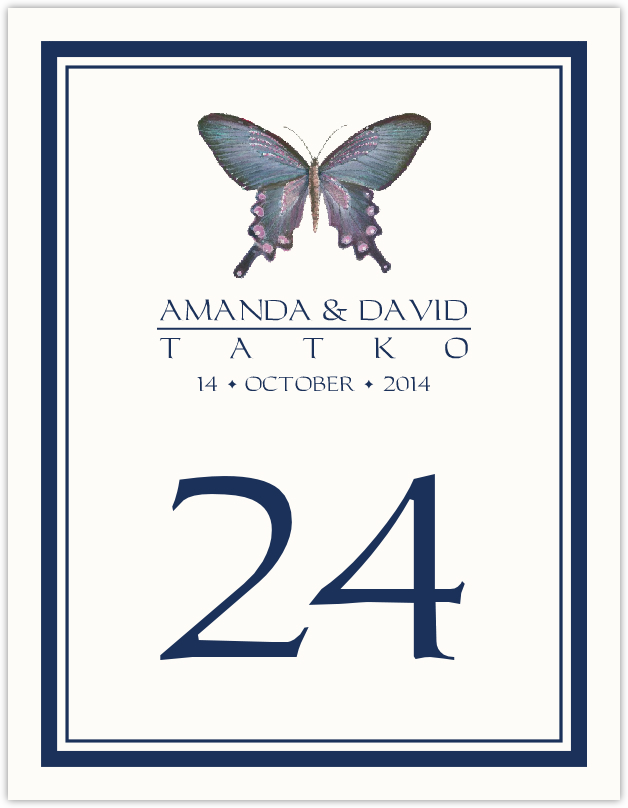 Painted Blue Butterfly  Table Numbers