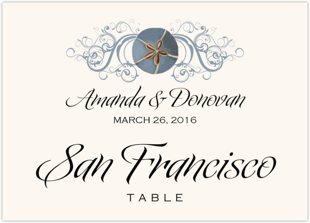 Blue Sand Dollar  Table Names