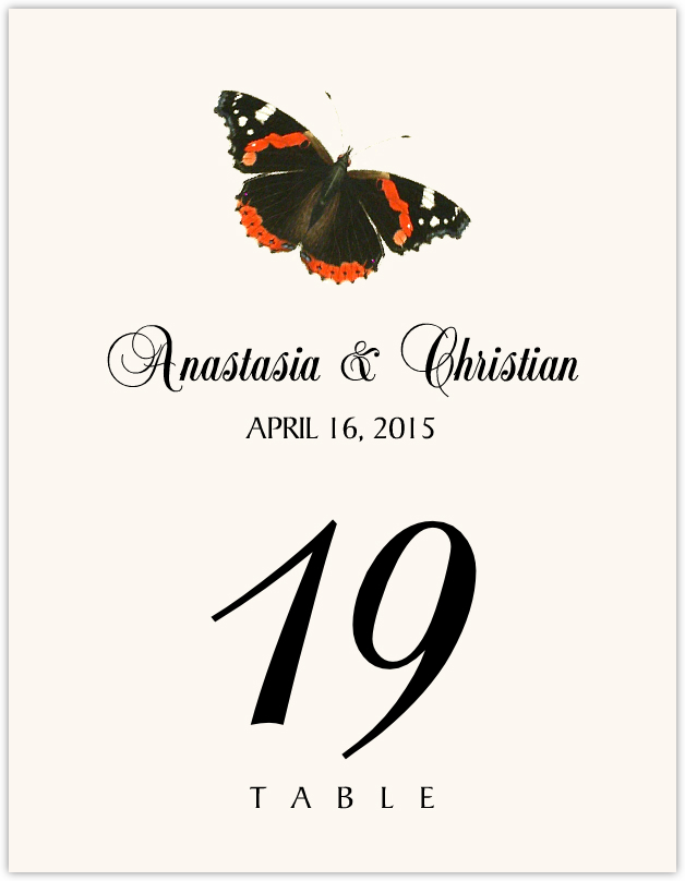 Butterfly Assortment  Table Numbers