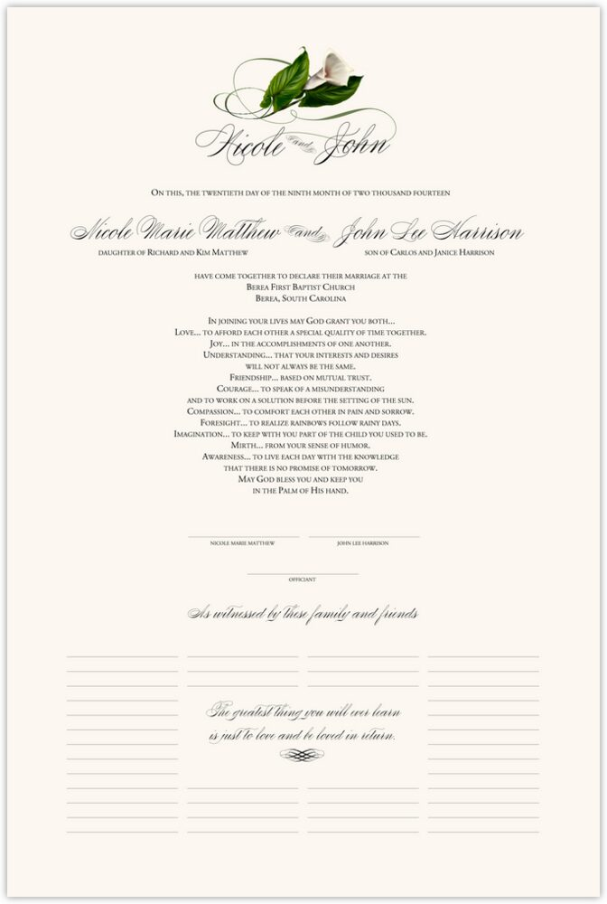 Calla Lily Swirl 01  Wedding Certificates