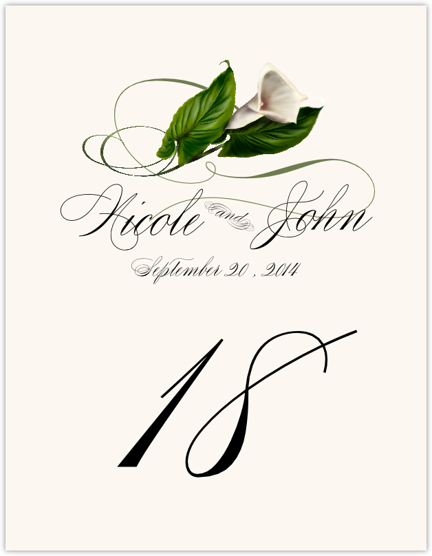 Calla Lily Swirl  Table Numbers