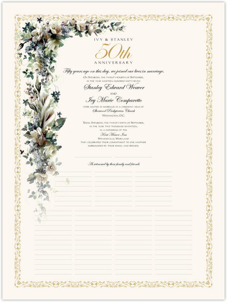 Calla Lilies and Gardenias  Wedding Certificates
