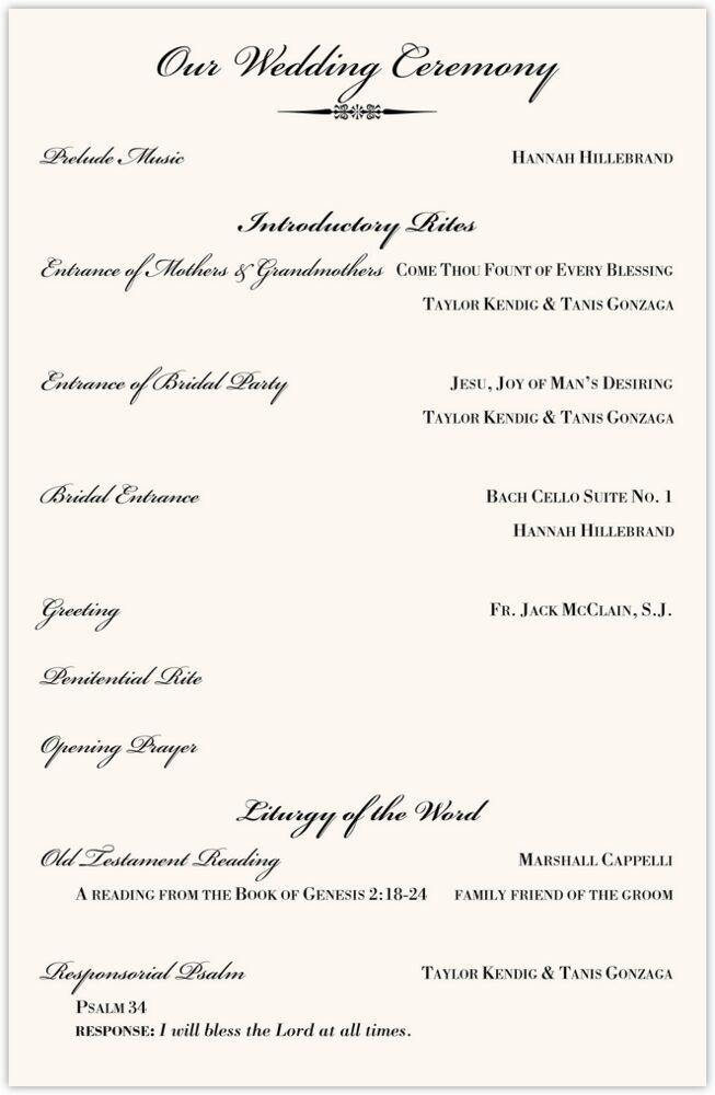 Typo Upright Monogram Full Catholic Mass (12 Pages)  Wedding Programs