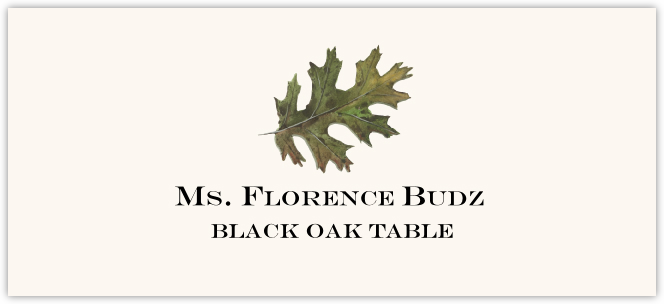 Black Oak Colorful Leaf  Place Cards