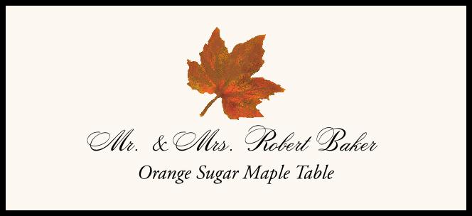 Orange Sugar Maple Colorful Leaf  Place Cards