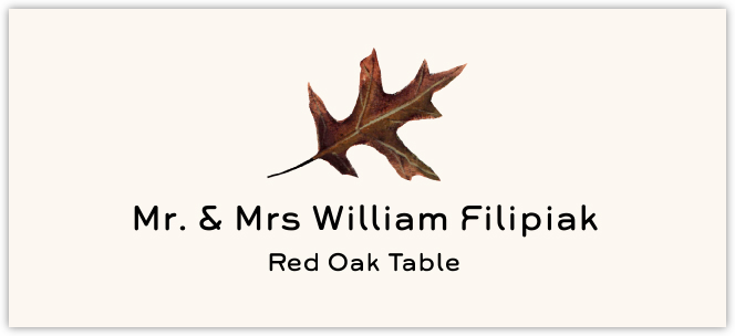 Red Oak Colorful Leaf  Place Cards
