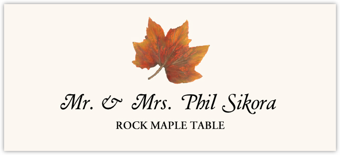 Rock Maple Colorful Leaf  Place Cards