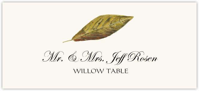 Willow Colorful Leaf  Place Cards