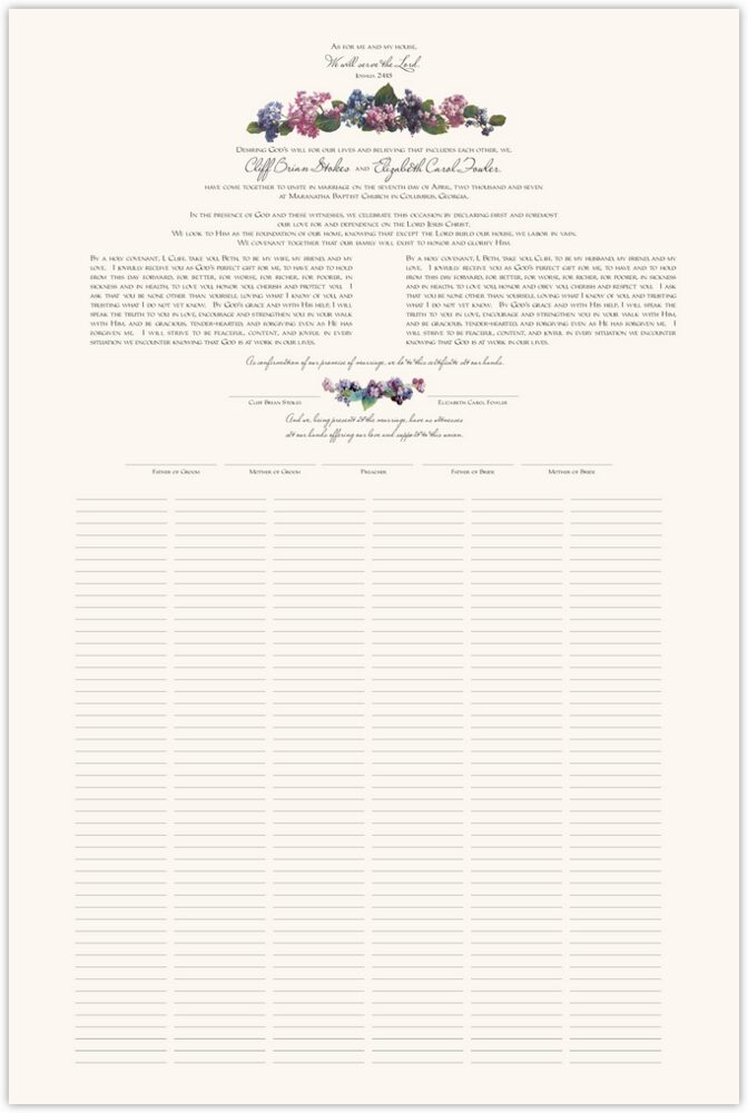 Colorful Hydrangea  Wedding Certificates