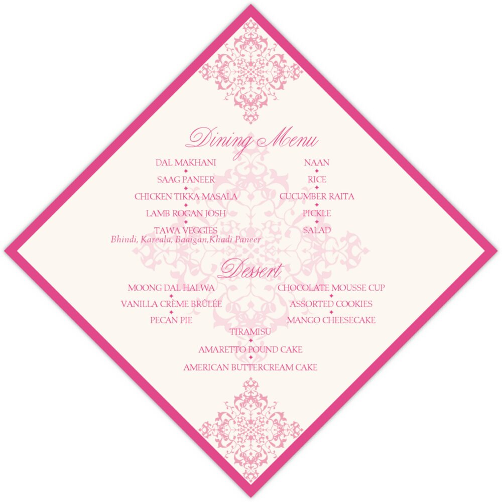 Diamond Mandala  Wedding Menus