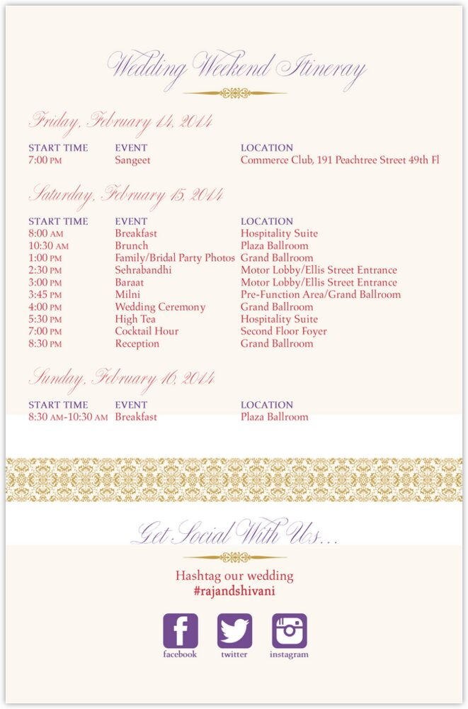 Diamond Mandala Welcome Letter  Wedding Programs