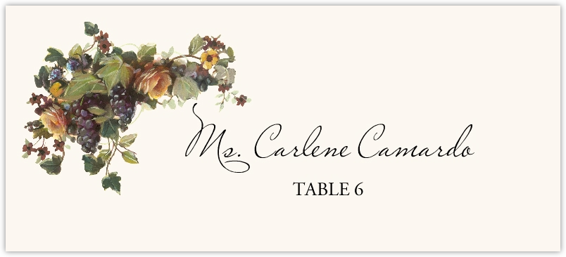 Grapes and Yellow Roses  Place Cards
