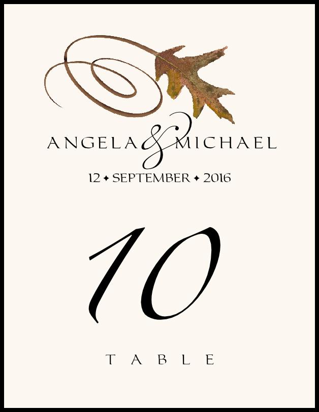 White Oak Swirly Leaf  Table Numbers