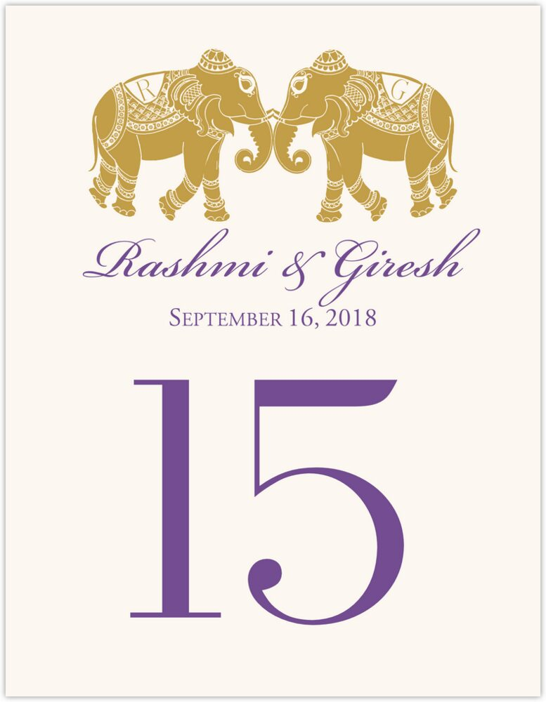 Indian Elephants  Table Numbers