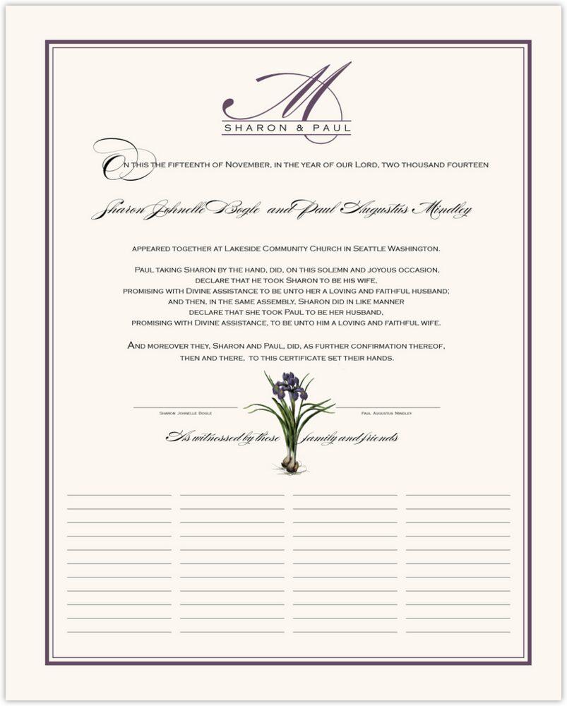 Iris Bulb  Wedding Certificates