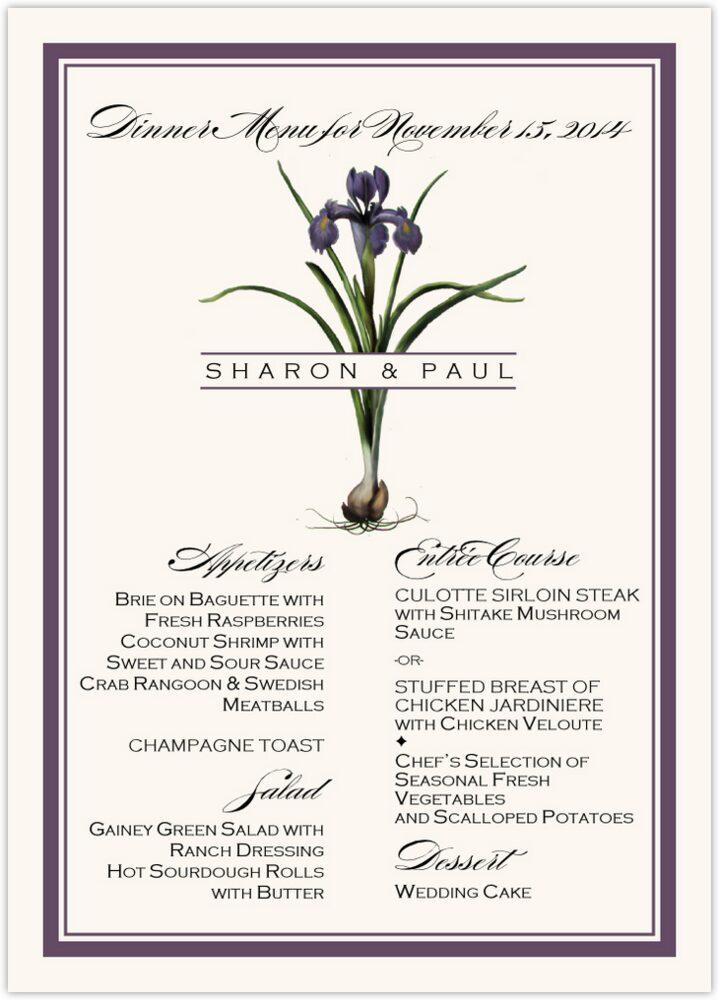 Iris Bulb  Wedding Menus