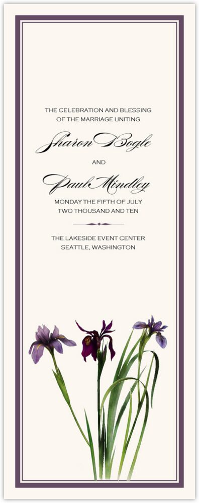 Wispy Iris  Wedding Programs
