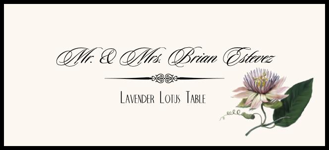 Lavender Lotus  Place Cards