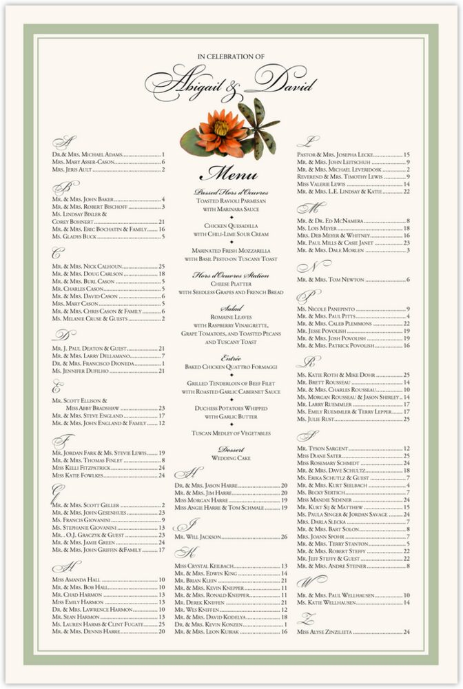 Lotus and Dragonfly  Seating Charts