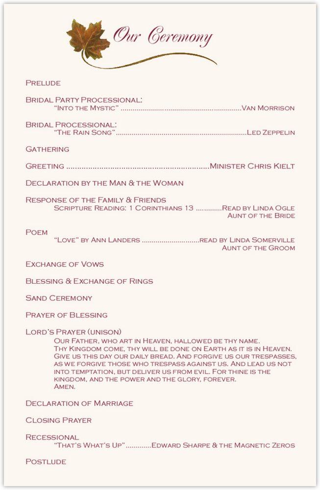 Maple Leaf Pattern  Wedding Programs