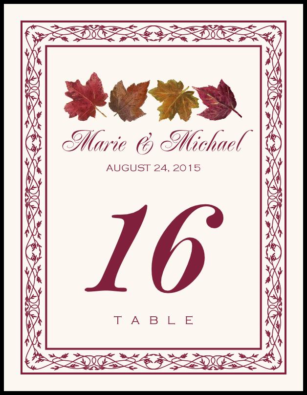 Maple Leaf Pattern  Table Numbers