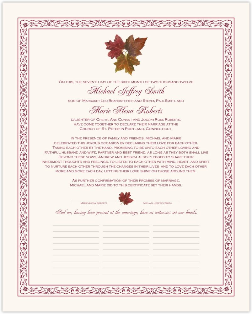 Tri Maple Leaf Pattern  Wedding Certificates