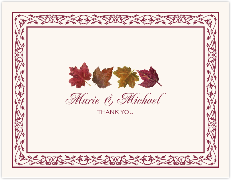 Maple Leaf Pattern  Thank You Notes