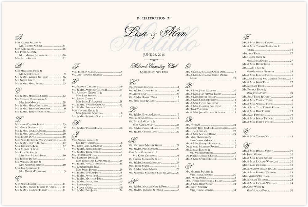 Old Script and Garamond Watermark  Seating Charts