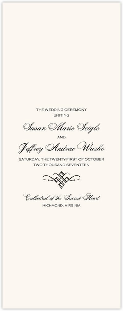 Only Calligraphy  Wedding Programs