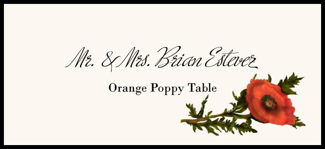 Orange Poppy  Place Cards