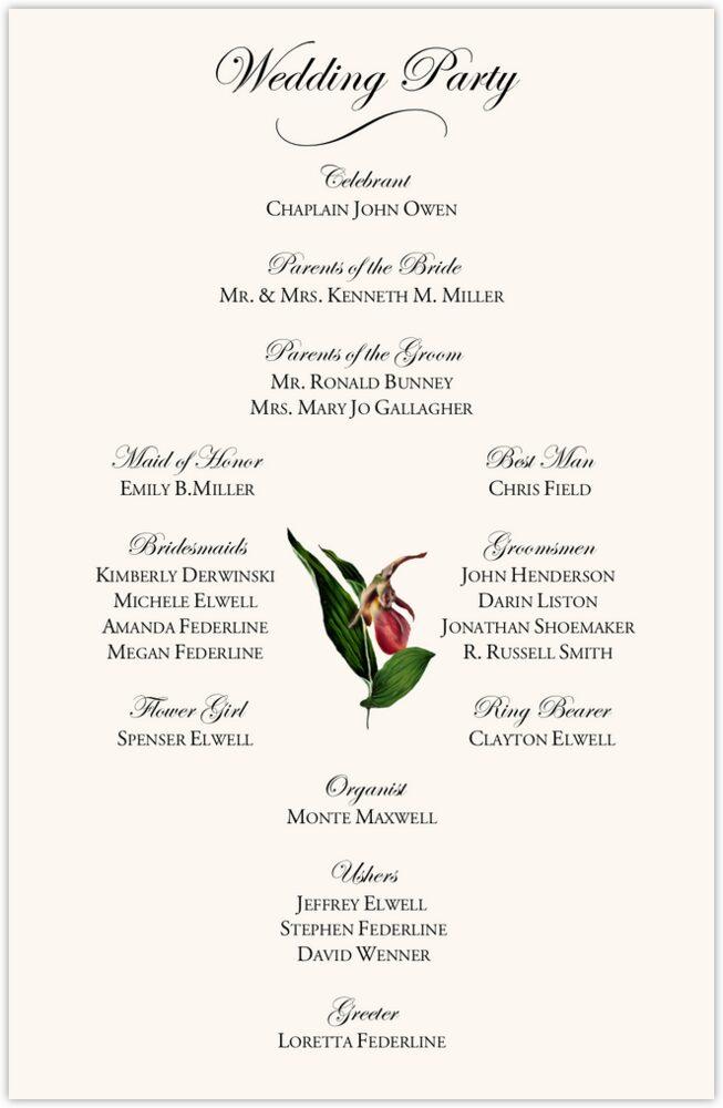 Orchid Cascade  Wedding Programs
