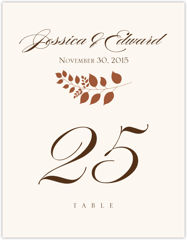 Peaceful Autumn 02  Table Numbers