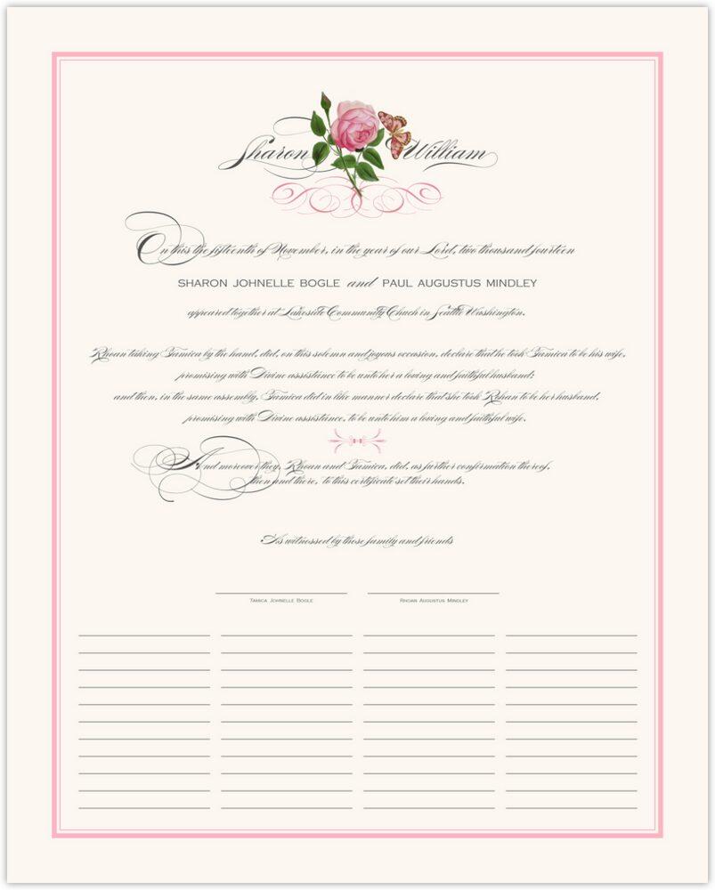Pink Tea Rose  Wedding Certificates