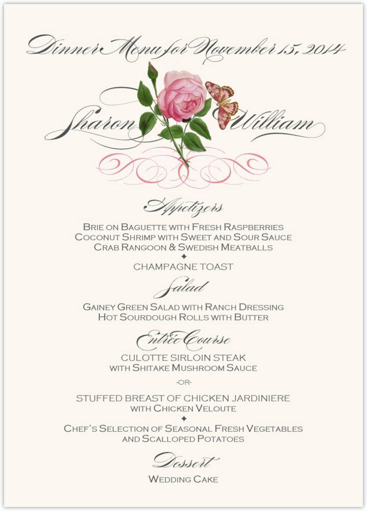 Pink Tea Rose  Wedding Menus