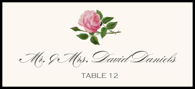 Pink Tea Rose  Place Cards