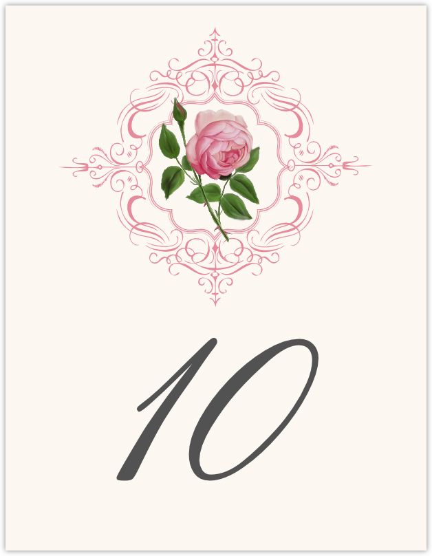 Pink Tea Rose  Table Numbers