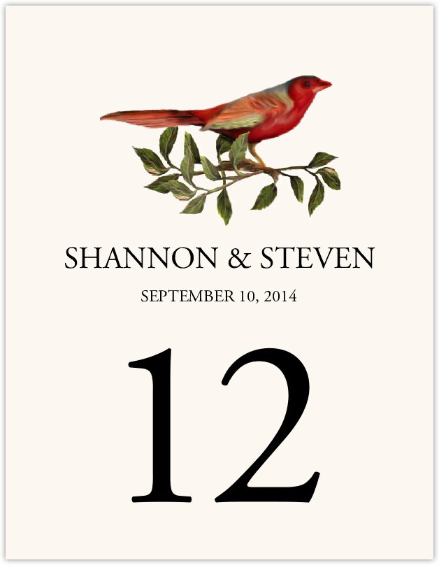 Red Bird 01  Table Numbers