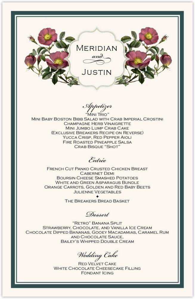 Rose Garden 02  Wedding Menus