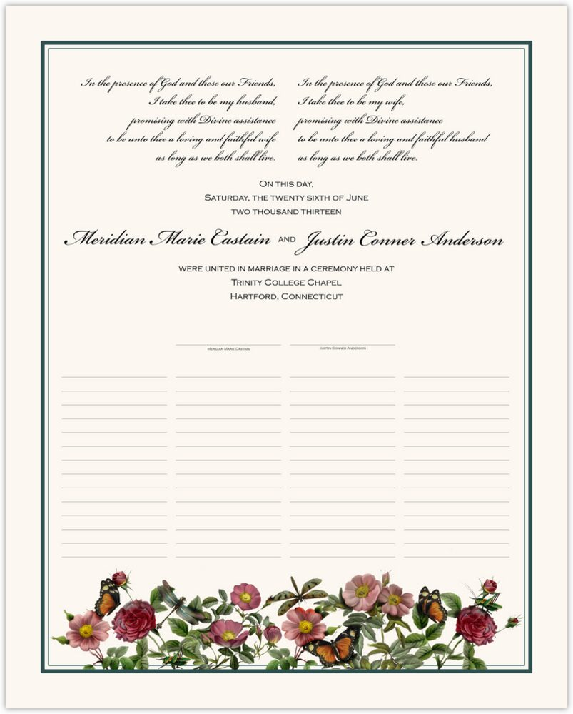 Rose Garden  Wedding Certificates