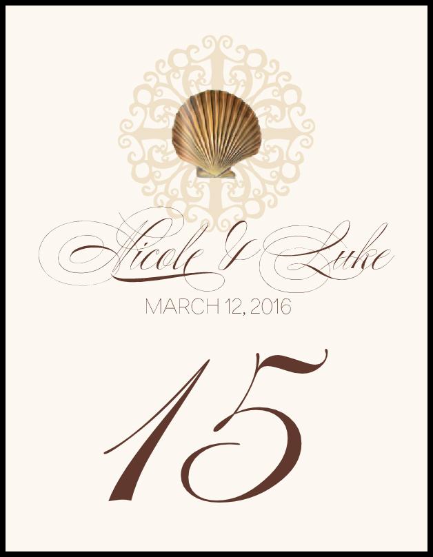 Seashell Flourish 01  Table Numbers