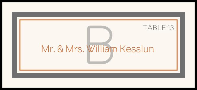 Brownstone Monogram  Place Cards