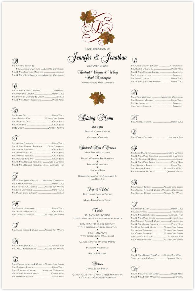 Sugar Maple Leaf Flourish  Seating Charts